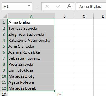 Jak Podzielić Tekst Imię I Nazwisko Na Dwie Kolumny Excel