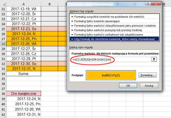 Kolorowanie Komórek Niedziela I Sobota I święta Excel