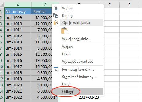 Ukrywanie I Odkrywanie Kolumn I Wierszy Excel