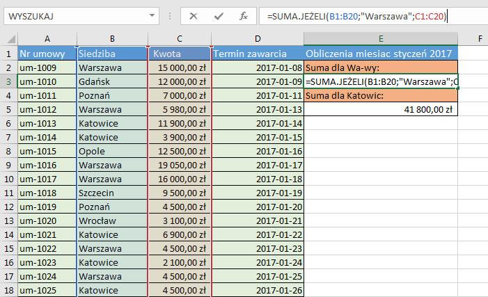 Sumawarunków Przykłady Excel