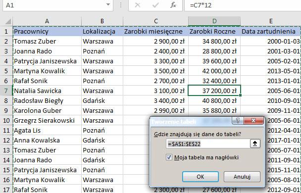 Tworzenie Tabeli Excel